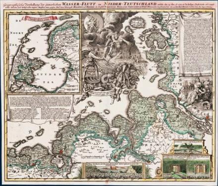 Een kaart van het getroffen gebied - Afgebeeld is de kustlijn van de Nederlanden tot aan het Scandinavisch gebied.