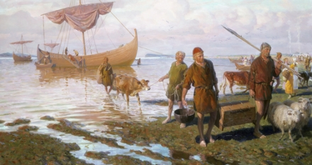 Vikings land at Vinland on Newfoundland.
